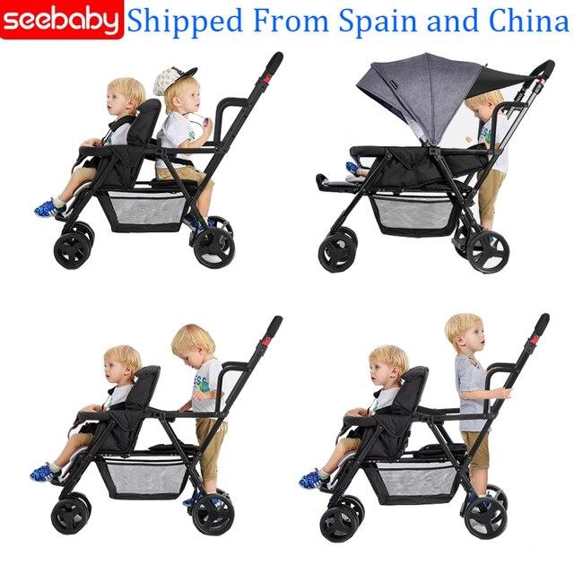 Seebaby pli jumeaux bébé poussette Double landau deux sièges peut se tenir debout/sasseoir nouveau né bébé et enfants landau poussette