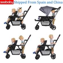 Seebaby складная детская коляска, двойная коляска, два сиденья, может стоять/сидеть, подходит для новорожденных, детская коляска, коляска