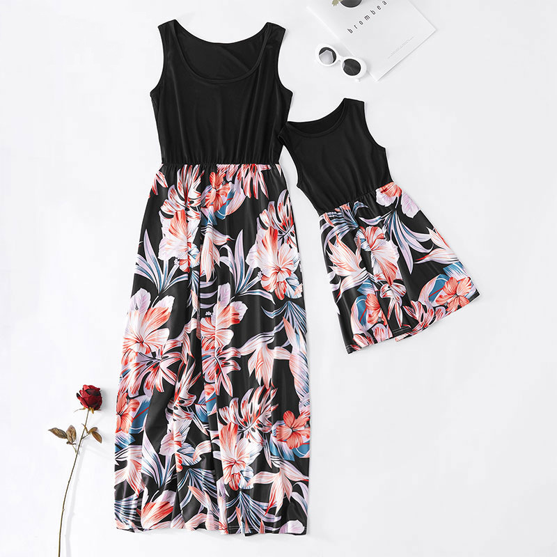 2021 Family Matching Maxi Dress Mom And Me Daughter Summer Patchwork Floral Long Dress For Women Clothes Mother Baby Girl Outfit 2