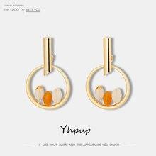 Yhpup moderno minimalista cobre redondo geométrico pendientes colgantes pendientes de piedra Natural Brincos para mujeres fiesta joyería regalo 2019