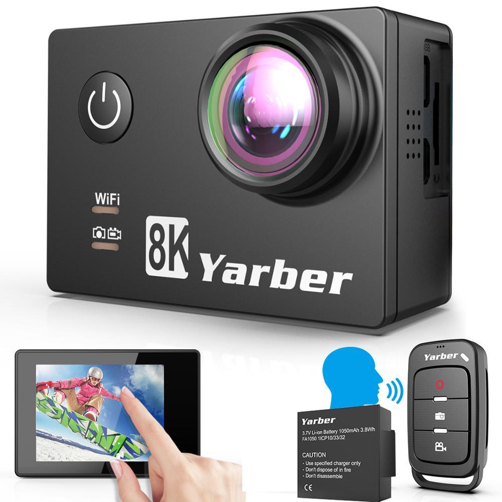 Yarber 8K WIFI caméra d'action 4K 60fps 20MP HD 40M étanche Action Cam APP voix activée 10M télécommande sport vidéo Cam