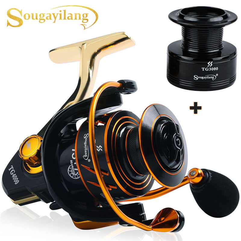 Sougayilang Fishing Reel 13 +1BB 5.0:1Gearing Silent Drive Strong Braking System Spinning Reels with Free Spare Spool