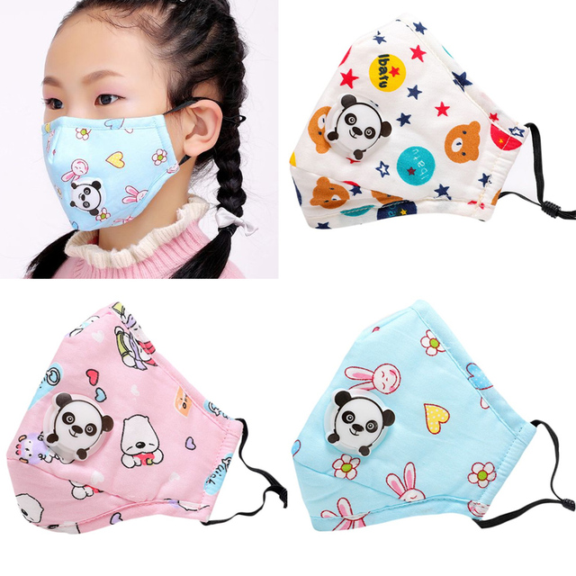 Tcare PM2.5 Children Mouth Mask Respiratory Valve Cartoon Panda Mask Warm Face Mask Fits 3-15 Years Old Kids 4