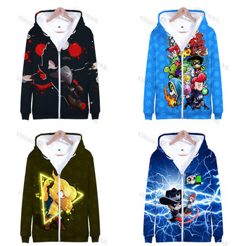 Browling Star 3 To 14 Years Spike Kids Hoodies Shooting Game 3D Printed Sweatshirt Boys Girls Cartoon Jacket Tops Teen Clothes 3 to 14 years kids