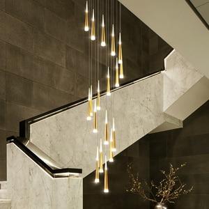 Image 4 - LED Chandelier Gold/Black/White/Coffe/Silver Staircase Long Pendant Lamp Duplex Building Villa Attic Adjustable Hanging Light