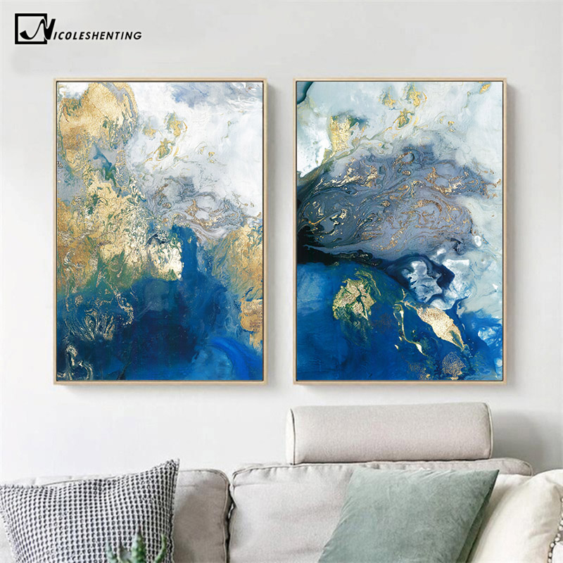 Blue Golden Modern Abstract Ocean Wall Poster Nordic Canvas Print Painting Contemporary Art Decoration Picture Living Room Decor
