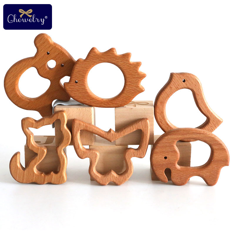 1PC Wooden Teether Baby Teething Toys Wood Animal Rodent Koala Baby Teething Pandent Tiny Rod DIY Pacifier Chain Children Goods