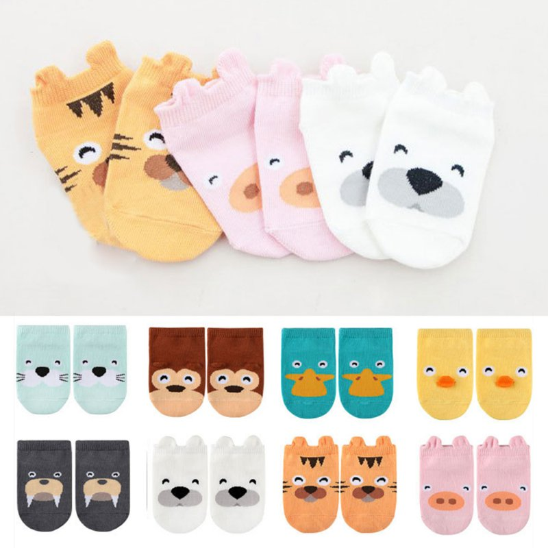 Kids Baby Unisex Girls Boys Cotton Cartoon Animal Anti Slip Boots Ankle Socks 1-4Y title=