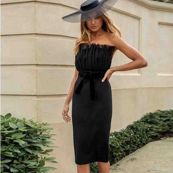 Ocstrade Black Bandage Dress Vestido 2020 Woman Sexy Strapless Mini Bodycon Celebrity Club Evening Party Dresses
