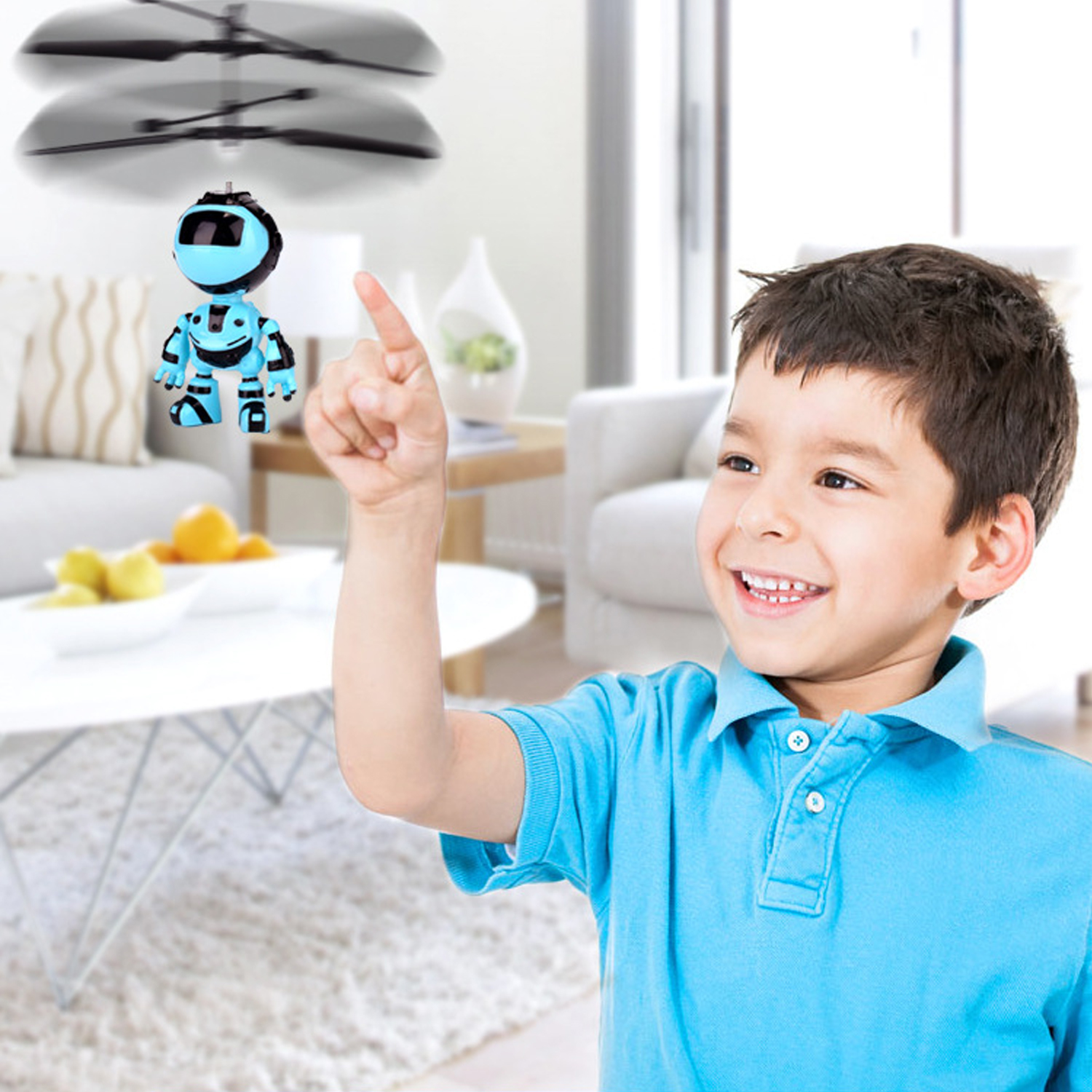 Funny Robot Style Mini Infrared Induction Flying Ball Aircraft Helicopter Toy with LED Light for Boys Girls Teenagers Gifts