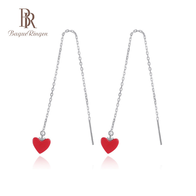 Bague Ringen Fashion Heart Shape Ruby  925 Sterling Silver Long Earring For Women Wedding Party Valentines Day Fine Jewelry Gift