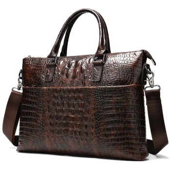 men briefcase bag men's genuine leather laptop bag men business bags mens leather briefcase 14''laptop crocodile pattern    8854