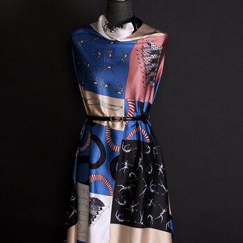 138CM Wide 19MM Block Print Strech Silk Satin Fabric for Elegant Women's Blouse Dress Clothing Cheongsam E1196