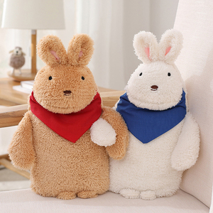 1000ML Cartoon Rabbit Hot Water Bottle Cover Explosion-proof Plush Fabrics Warm Water Bag Removable Washable Hand Warming Covers