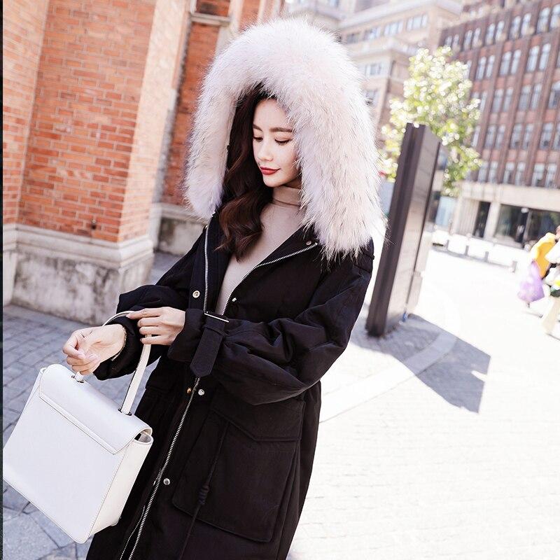 Winter Down Jacket Women Thick Warm Duck Down Coat Female Korean Long Raccoon Fur Hooded Overcoat Down Parka Hiver 8823