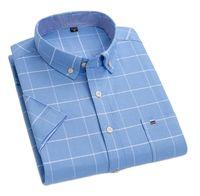 Männer Oxford Kurzarm Shirt 100% Baumwolle Regelmäßige Fit Kausalen Mode Streifen Shirts Sommer Gedruckt Arbeit Kleidung