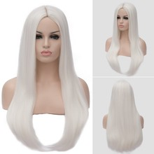 GAKA Women's Long Straight White Wig Synthetic Orange Cosplay Middle Part Line Wigs ultra long center part straight synthetic wig