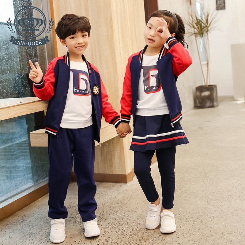 [Ann Fruit] College Style School Uniform Autumn New Style Sports Clothing Set Kindergarten Suit Three-piece Set