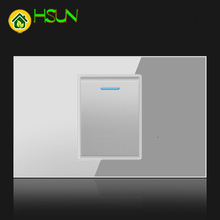 US Tempered Glass Gray 118 Type Switch Socket 1/2/3/4/5/6/7/8 Gang 2 Way Switch Real Glass LED Guide Light Mounting Boxes