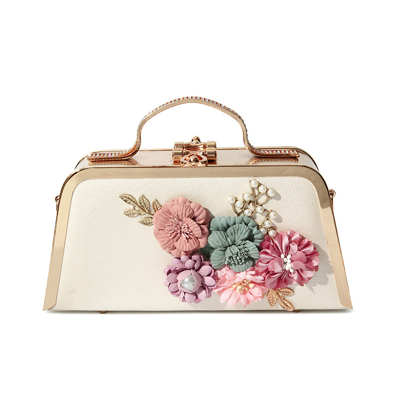 Fashion party Women Bag Designer PU Leather Evening Bag Handmade Flowers Luxury Handbags Clutch Purse Chain Shoulder Bag Wedding