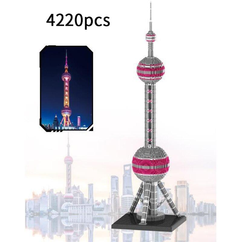 4220 pcs arquitetura famosa montar oriental perola torre blocos modelo micro particulas brinquedos educativos presentes para