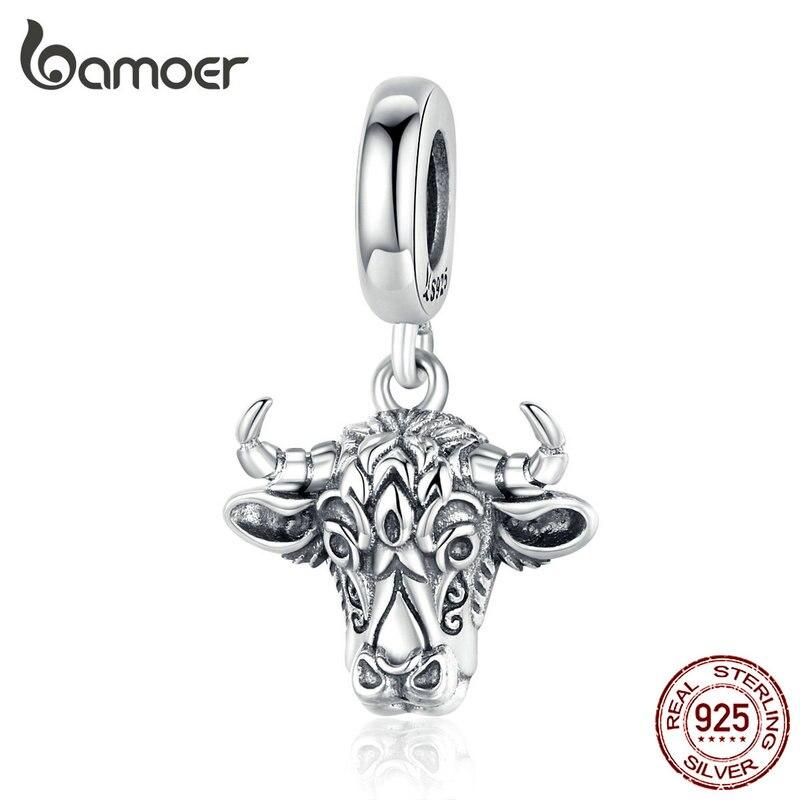 Bamoer Vintage Bull Pendant Charm Original Sterling Silver 925 Engraved Tauren Charms Fit Bracelet Or Necklace Jewelry SCC1316
