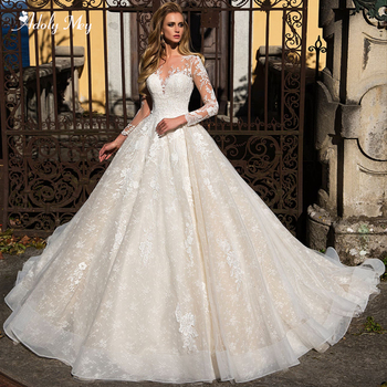 Adoly Mey Gorgeous Appliques Court Train Lace A-Line Wedding Dresses 2020 Charming Scoop Neck Long Sleeves Vintage Bridal Gown