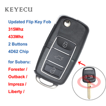 Keyecu Updated Flip Remote Auto Car Key Fob 2 Buttons 315 / 433MHz with 4D62 Chip for Subaru Impreza Forester Liberty