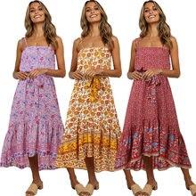 Mode femmes robe d'été Boho Style sans manches à bretelles femme fille robes pansement vacances fête plage robe féminine les robe