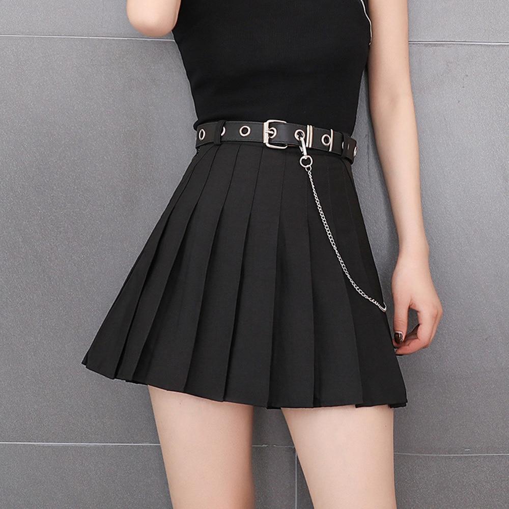 Rosetic Aline Pleated Skirt High Waist Goth Summer 2020 Sexy Short Skirts Women Gothic Punk Casual Black Blue Gray Plus Size 2XL