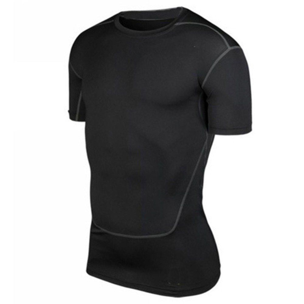 Men Compression T-shirts Base Layer Shirts Black White Grey Green Color Dry Short Sleeve Athletic Top Men Sportswear Summer New