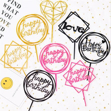 Mold Cake-Topper Dessert-Decoration Happy-Birthday Acrylic Silver Gold Hand for Lovely