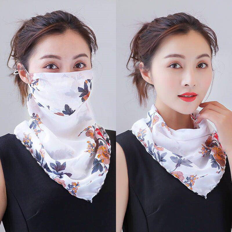 New Print Chiffon Flowers Face Mask Scarf Protection Women Sun Scarves Neck Cover Ladies Hiking Riding Mouth Scarf Ring Wraps