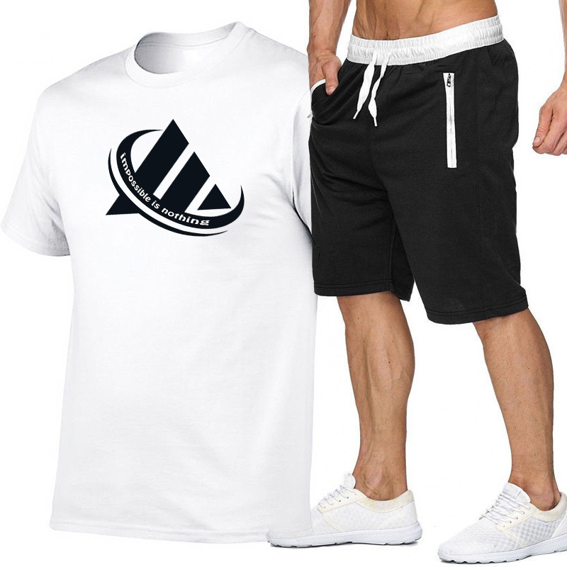 Summer <font><b>Men</b></font> And Women Printed Cotton <font><b>Short</b></font>-sleeved T-shirt + Mobile Phone Pocket <font><b>Shorts</b></font> Leisure Sports <font><b>Suit</b></font> image