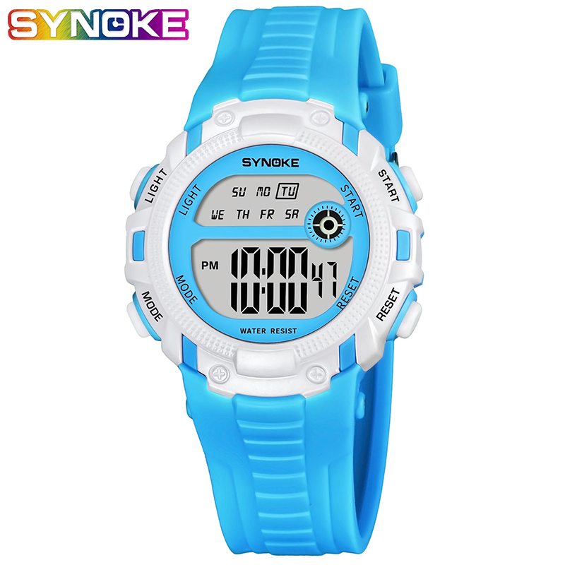 SYNOKE Outdoors Sports Children Watches For Boys Girls Fashion LED Digital Watch Kids 3M Waterproof Wristwatches Date Week Clock