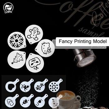 Elegante plantilla para decorar café espuma Spray torta plantillas tamiz de café Café dibujo molde de capuchino en polvo colador de azúcar herramientas