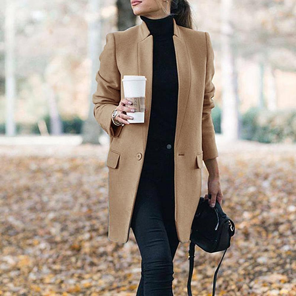 Womens Elegant Lapel Collar Slim Fit Long Trench Coat Outwear Overcoat Spring