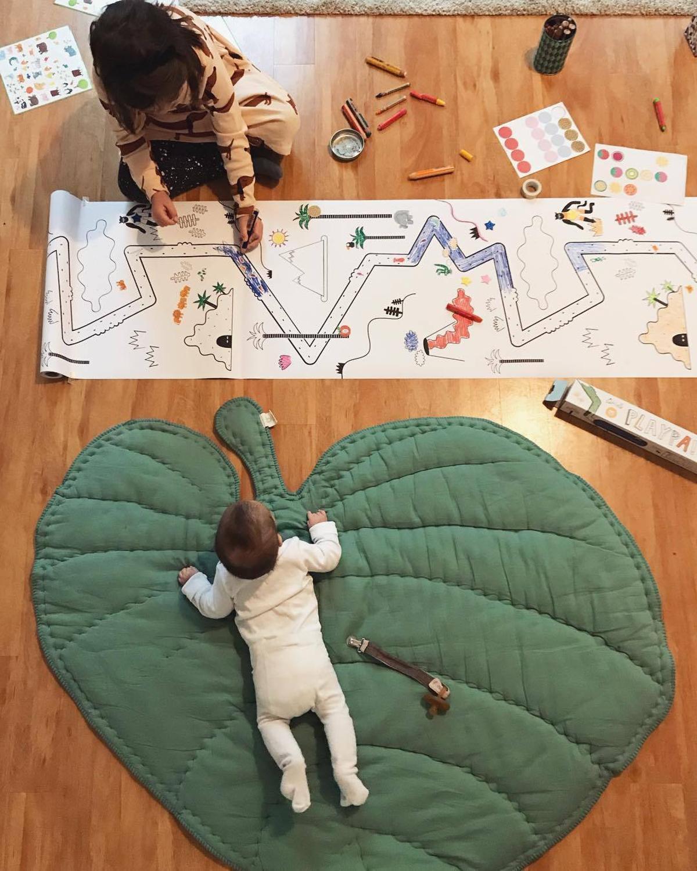 Tapis de jeu pour bébé en forme de feuille tapis de ramper pour bébé tapis de jeux pour enfants décoration de chambre pour enfants tapis de rangement pour jouets pour bébé