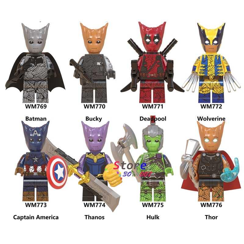 Pojedyncze Avengers Endgame Batman Bucky Deadpool Wolverine kapitan ameryka Thanos Hulk Thor hawkeye klocki dla dzieci zabawki