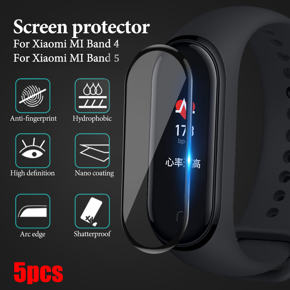 5 шт., Взрывозащищенная защитная пленка из мягкого закаленного стекла, полностью изогнутая, для Xiaomi Mi Band 4 5
