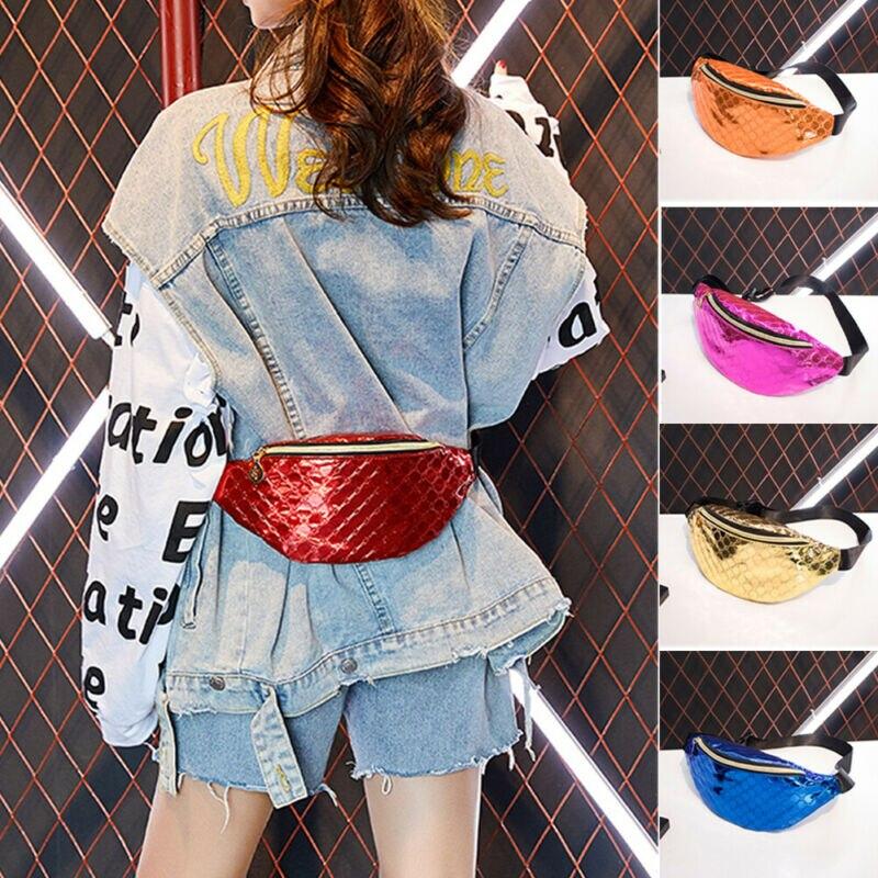 USA Women Waist Bag Fanny Pack Belt Bag PU Leather Chest Bag Zipper Pouch Travel Hip Bum Bag Small Purse