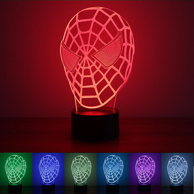 3D Night Light USB Powered Spiderman LED Desk Lamp Novelty Lights Touch Key Decoration Atmosphere Light Use Home Party Holiday