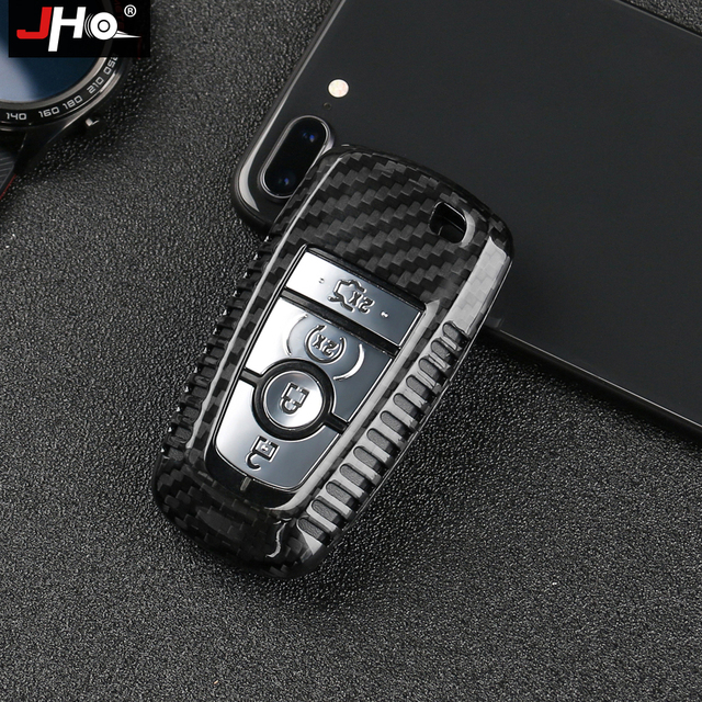 JHO REAL Carbon Remote Key Fob Shell Case Key Cover For Ford Explorer 2016 2019 2018 2017 XLT Limited Sport Car Accessories