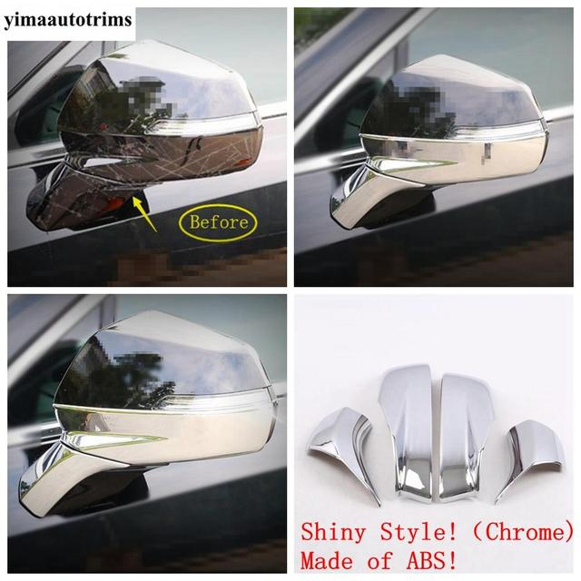 Door Rearview Mirror Protective Caps Stripes Cover Trim ABS Chrome / Carbon Fiber Look Exterior Fit For Cadillac XT4 2019 - 2021 2