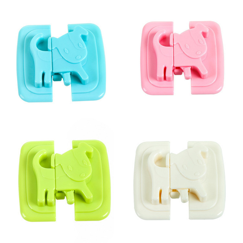 4Pcs/Set Puppy Shape Safety Locks For Refrigerators Door Baby Safe Protection From Children Lock Castle Security Blocker Padlock