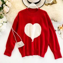 Nicemix 2019 Wanita Sweet Heart Sweater Merah Hitam Korea Panjang Sweater Turtleneck Longgar Street Lucu Hangat Pesta Rajutan Pullover(China)
