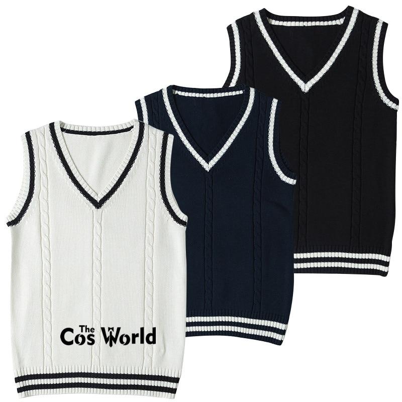 S-XXL Spring Autumn Men's Women's Sleeveless Stripes Knit Vests Pullovers V Neck Sweaters For JK School Uniform Student Clothes