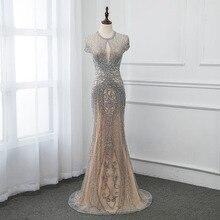 New 2020 Silver Rhinestones Long Evening Dresses Elegant Nude Tulle Pageant Dress Women Gown Mermaid Vestidos Cap Sleeve
