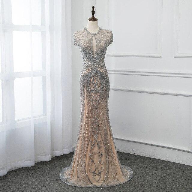 Yeni 2020 gümüş Rhinestones uzun abiye zarif çıplak tül Pageant elbise kadın elbisesi Mermaid Vestidos Cap Sleeve