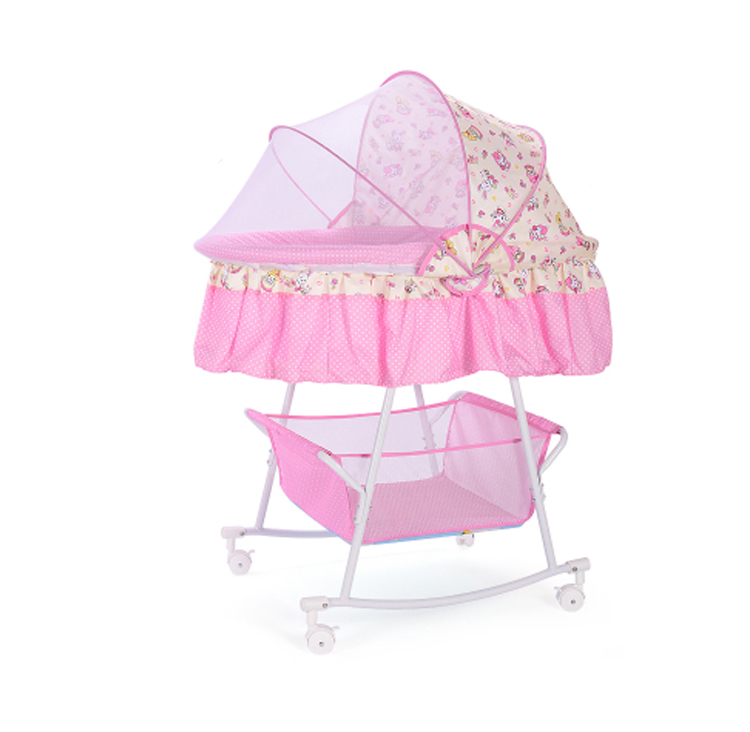 Baby Cradle Bed Small Cradle Neonatal Cradle Bed Cradle Bed With Mosquito Nets Multi-functional Comfort Bb Bed With Roller Sleep